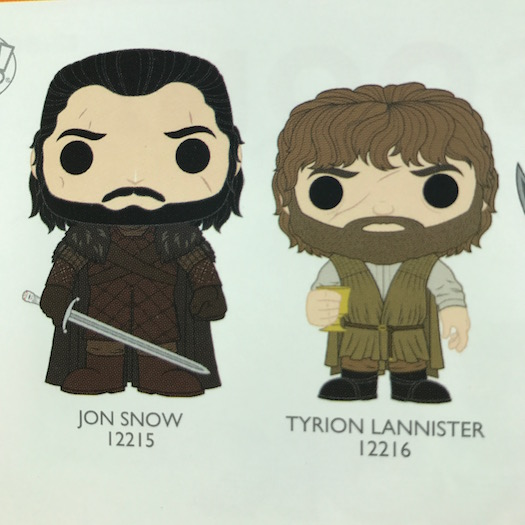 Previews of the upcoming series of Game of Thrones Pop! Vinyls!