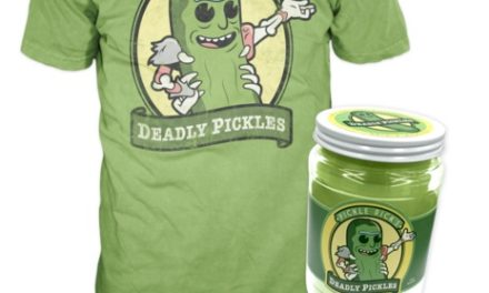 A look at the upcoming NYCC Exclusive Pickle Rick Pop! Tee in Jar!
